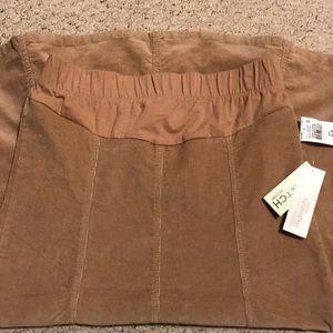 Modest Corduroy Khaki Maternity Skirt